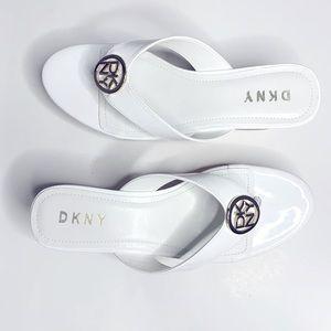 New DKNY Wedge White Thong Sandal